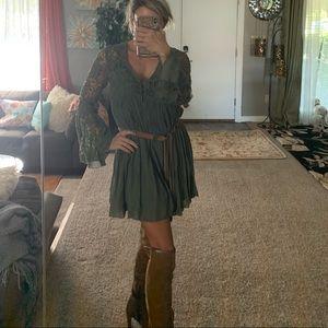 Rebellion boho olive green dress size Medium